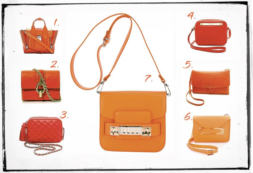 orange cross-body bags