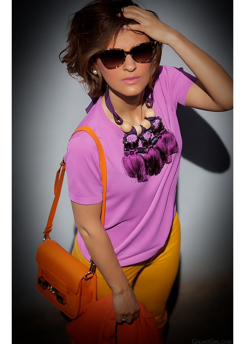 color block outfit with statement necklace GalantGirl.com