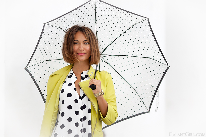 outfit for rainy day with polka dots by GalantGirl.com