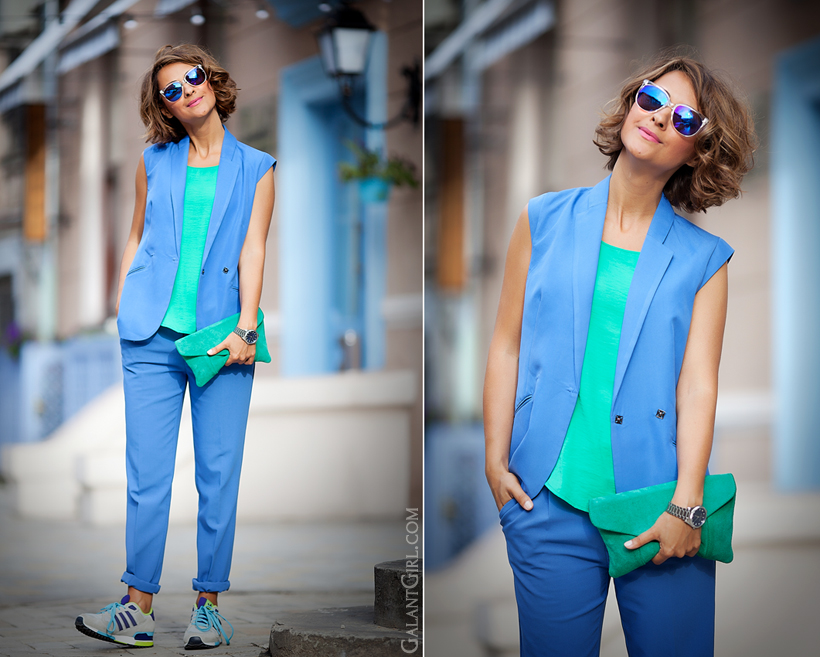 color block summer outfit with sneakers Adidas by GalantGirl.com