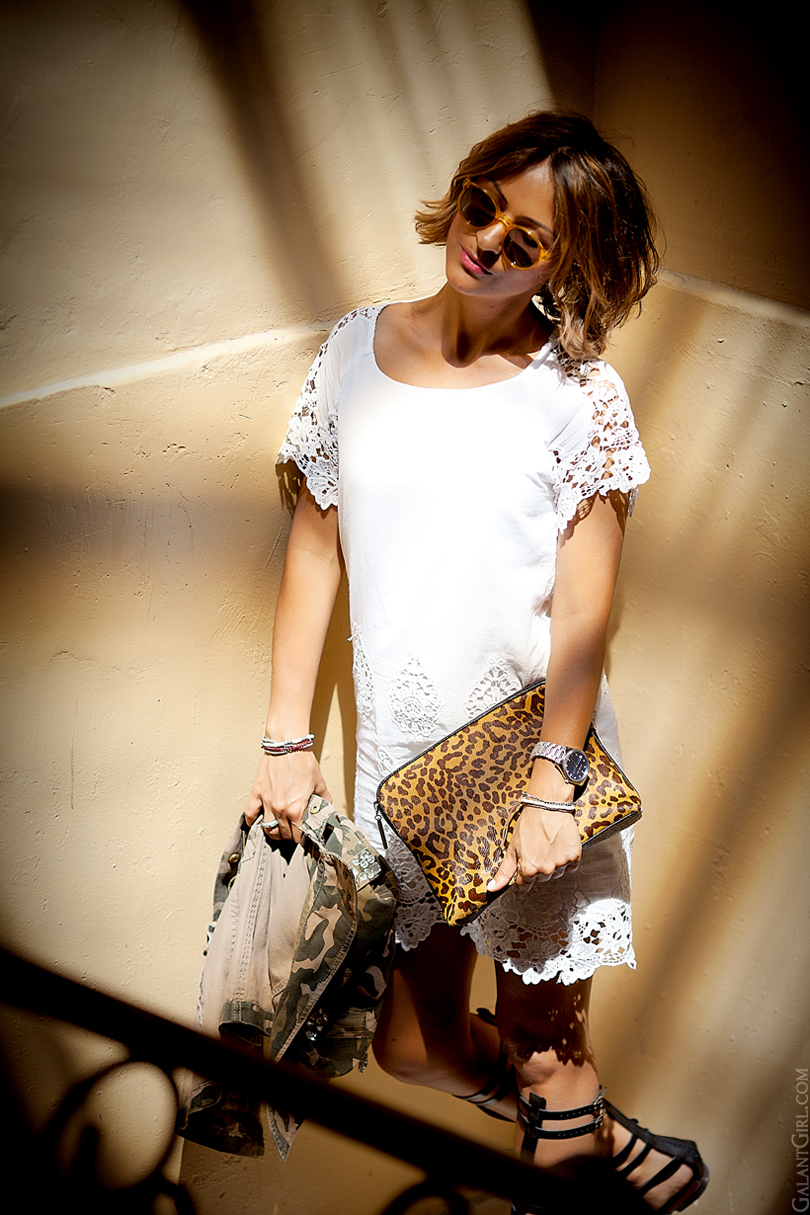 lace dress LIV and leopard clutch by GalantGirl.com
