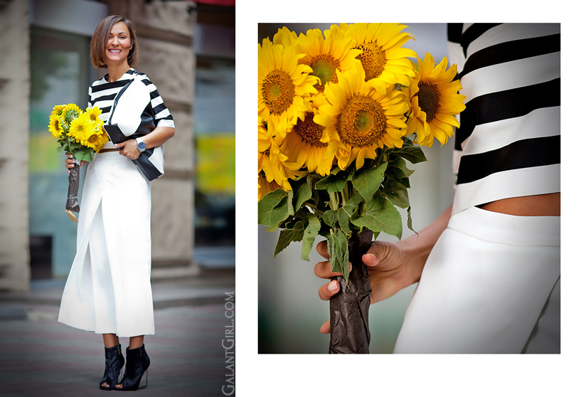 outfit with culottes and striped top by GalantGirl.com