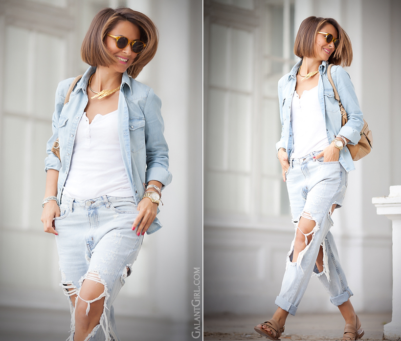 total denim look with ripped jeans by GalantGirl.com