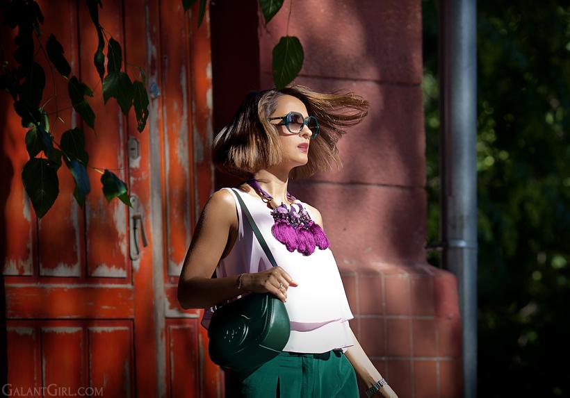 pink top Zara and Tosca Blu bag
