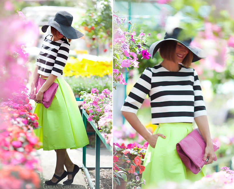 color block outfit with midi skirt by GalantGirl.com