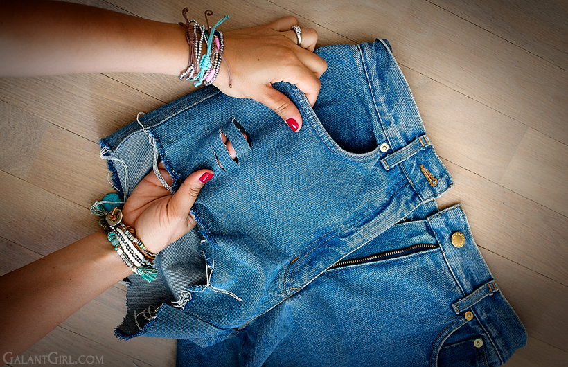 Сделать дырки на джинсовой юбке