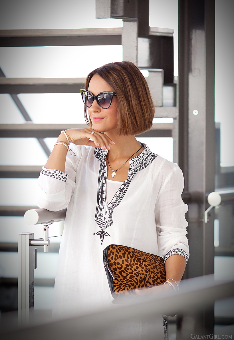 tunic dress Zara and leopard print clutch by GalantGirl.com