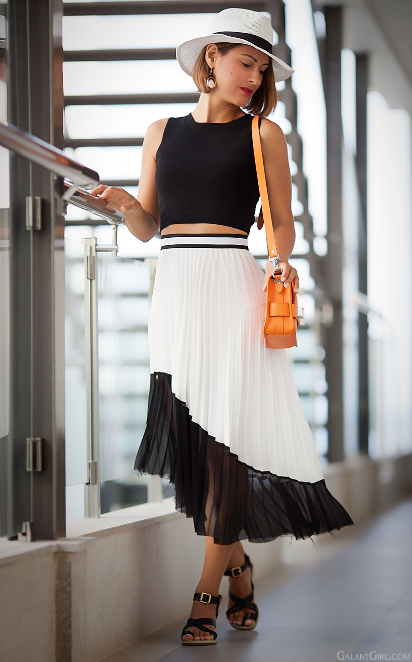zara pleated skirt in b/w summer outfit by GalantGirl.com