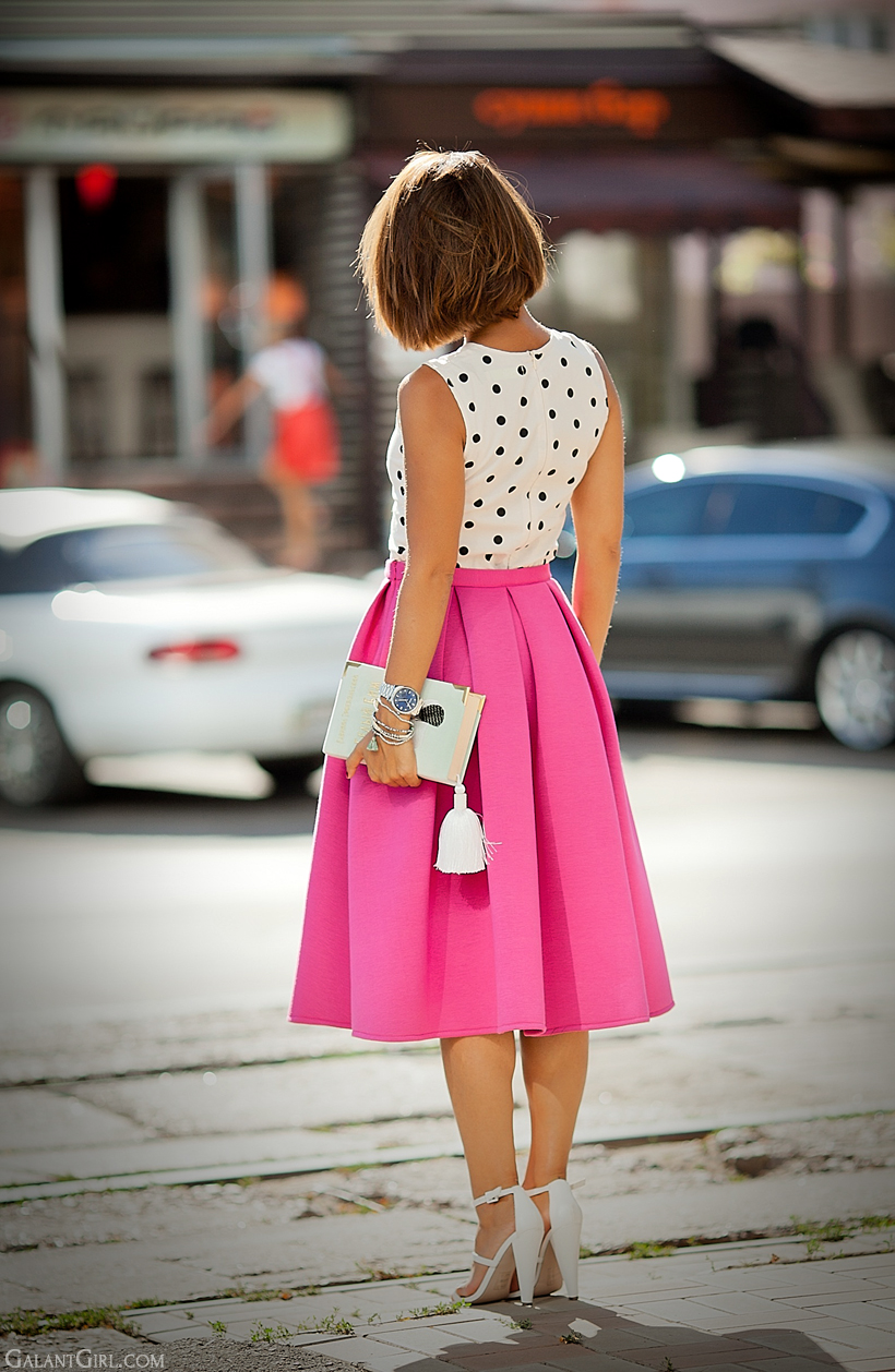 pink scuba midi skirt outfit by Galant Girl