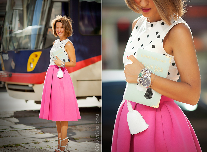 feminine outfit with scuba midi skirt by GalantGirl.com