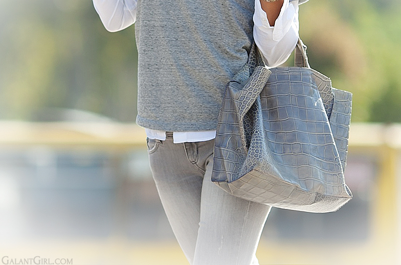 grey jeans and Furls bag