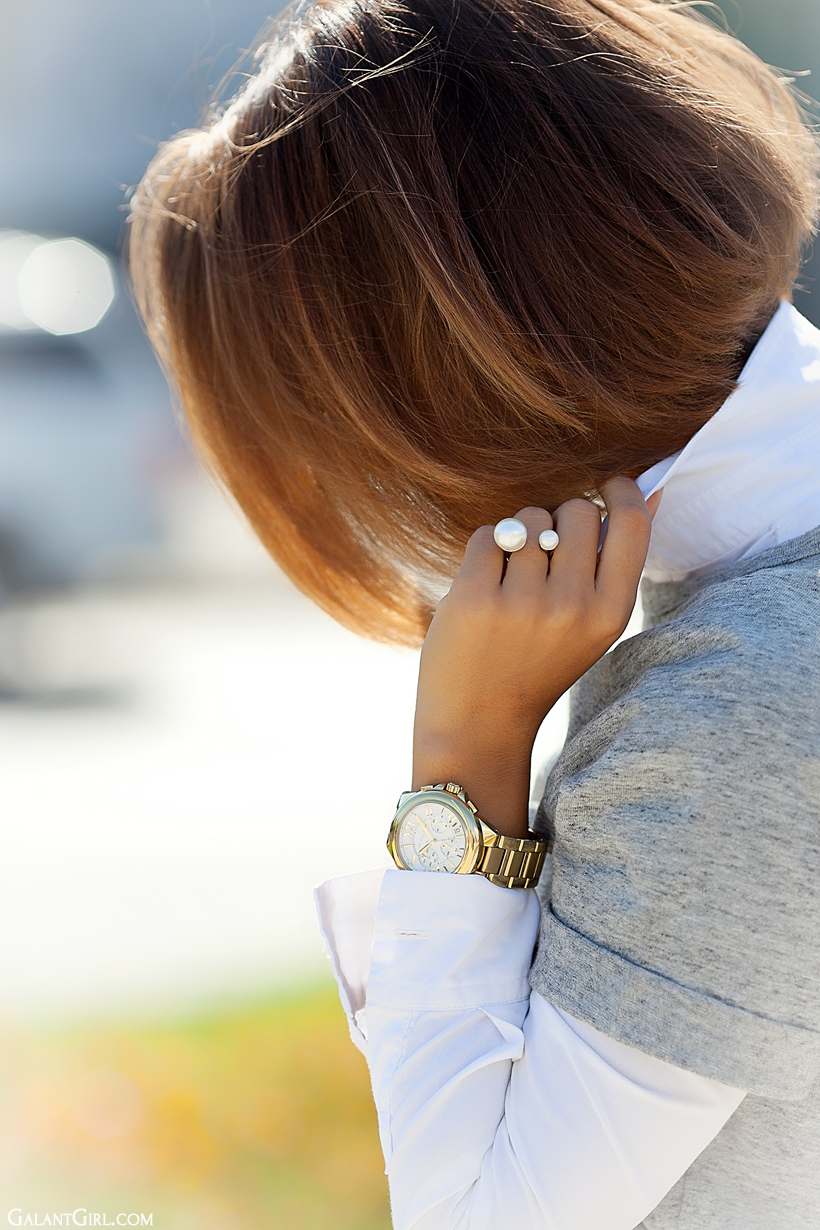 double pearl ring and michael kors watch