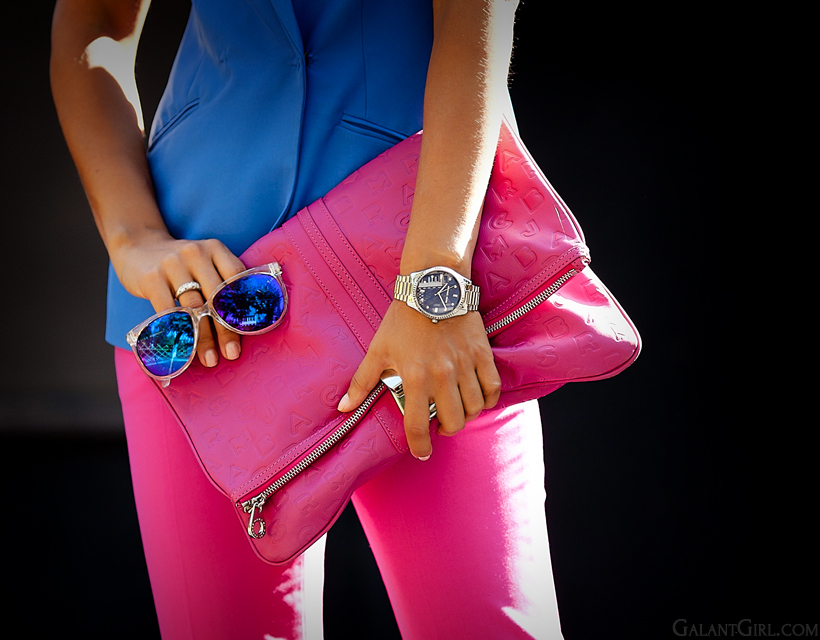 color block outfit with pink Marc Jacobs clutch and Vans sunglasses by GalantGirl.com