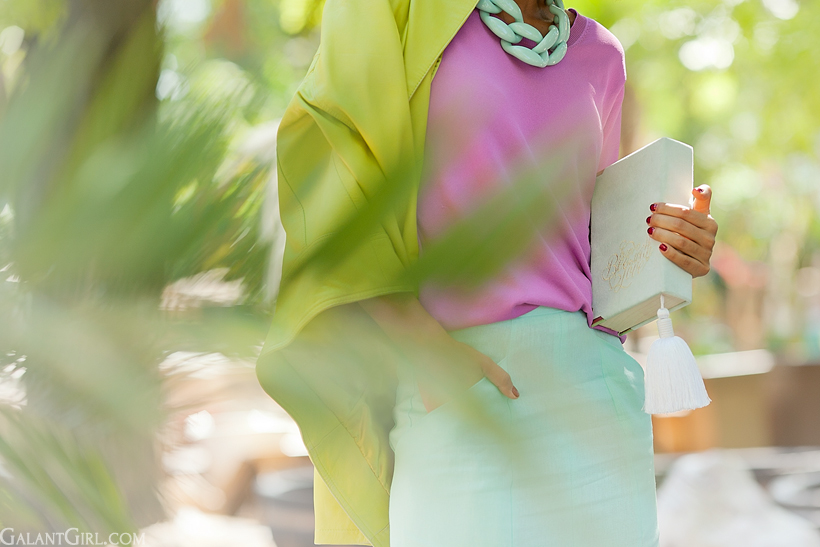 pastel outfit for autumn with Diana Broussard necklace by GalantGirl.com