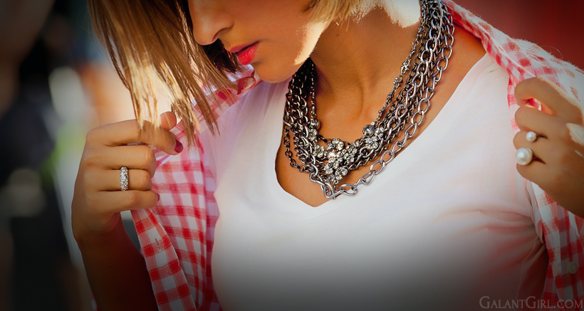 chain necklace and checkes shirt by Galantgirl.com