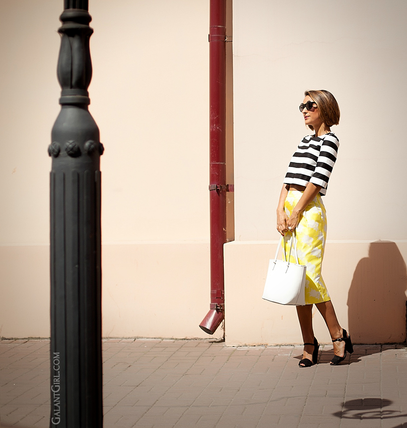 pencil skirt Asos and striped top with Kate Spade New York bag by GalantGirl.com