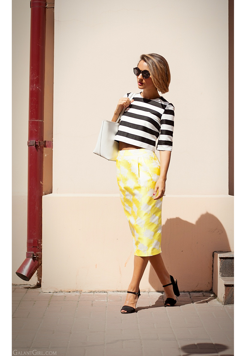 pencil skirt and striped top by GalantGirl.com