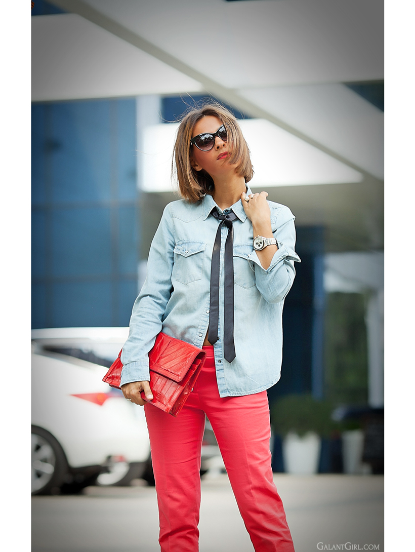 denim shirt with tie and red accents