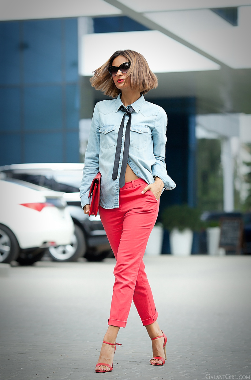 denim shirt with tie by Galant Girl