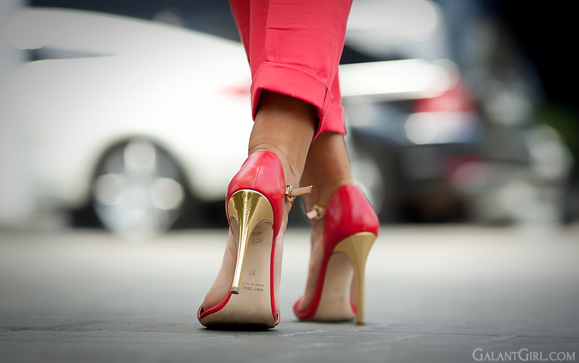 golden heels and red shoes