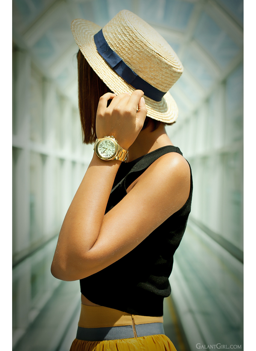 straw hat and michael kors watch