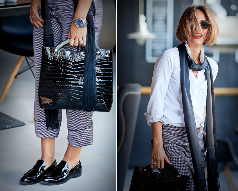 pajama trousers outfit with silk scarf by GalantGirl.com