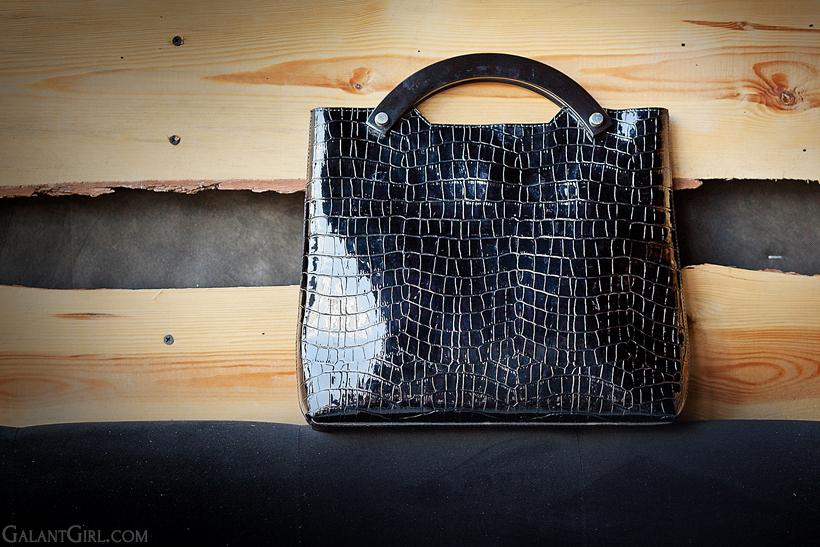 patent leather retro tote bag