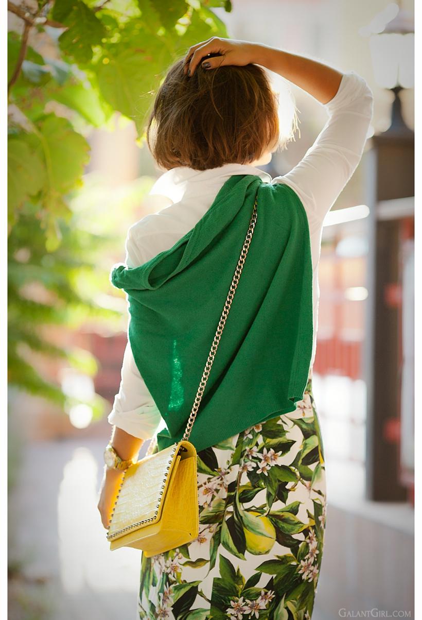 yellow studded cross body bag and floral dolce & gabbana skirt on Galant Girl