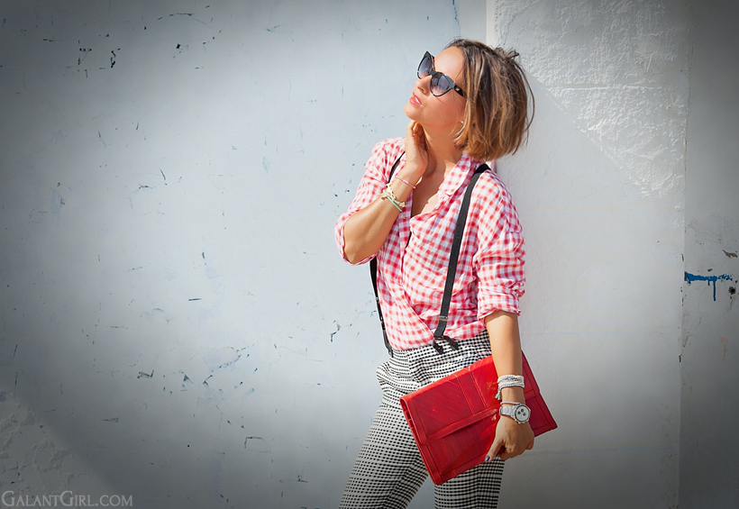 gingham shirt outfit with braces on GalantGirl.com