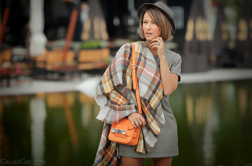 Proenza Schouler PS11 and checked poncho on GalantGirl.com