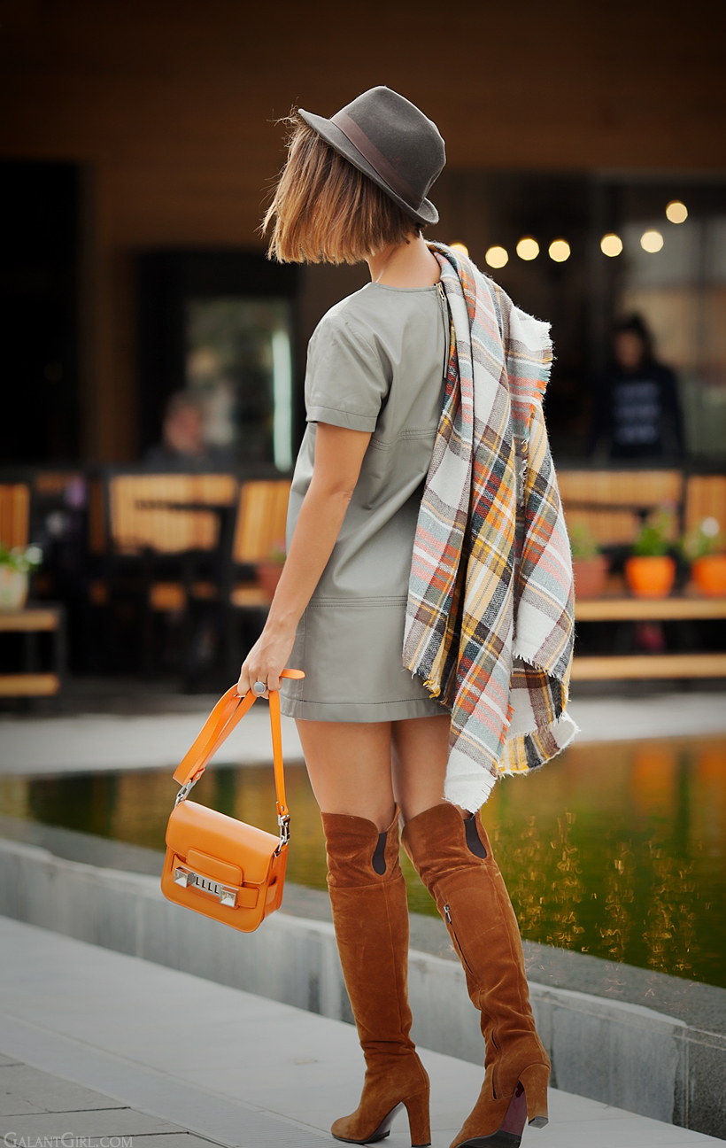 checked poncho and over the knee boots - fashion trends for autumn 2014 on GalantGirl.com