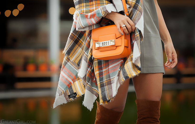 Proenza Schouler PS 11, checked poncho and over the knee boots - fashion trends for autumn 2014 on GalantGirl.com
