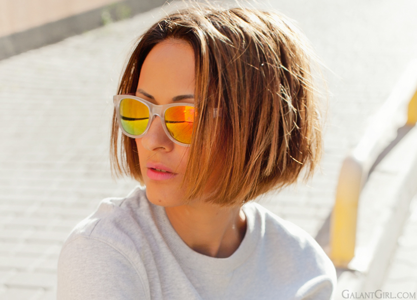 orange mirror sunglasses by Galant girl