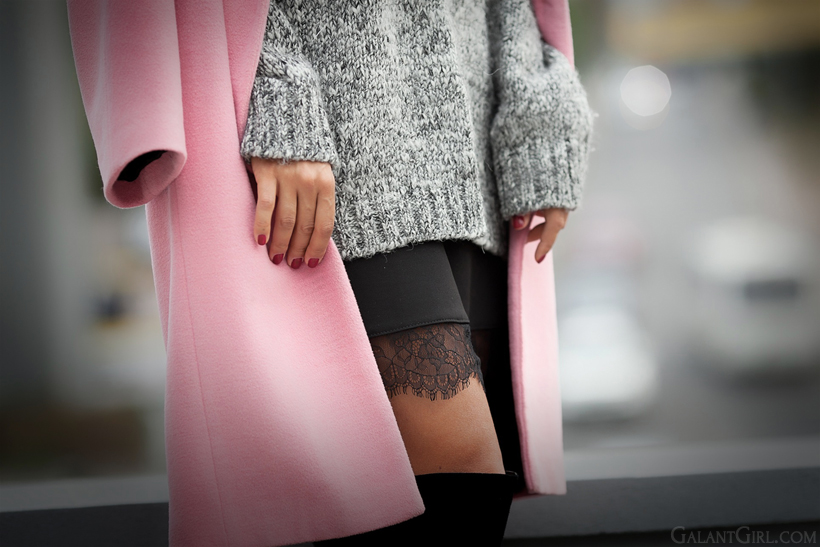 lace skirt with chunky jumper and pink coat on GalantGirl.com