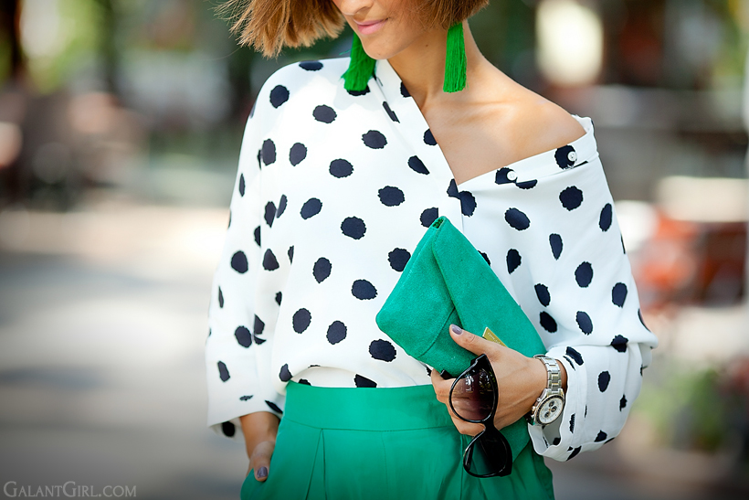 silk pants FrontRowShop and polka dots Asos blouse outfit by Galant Girl