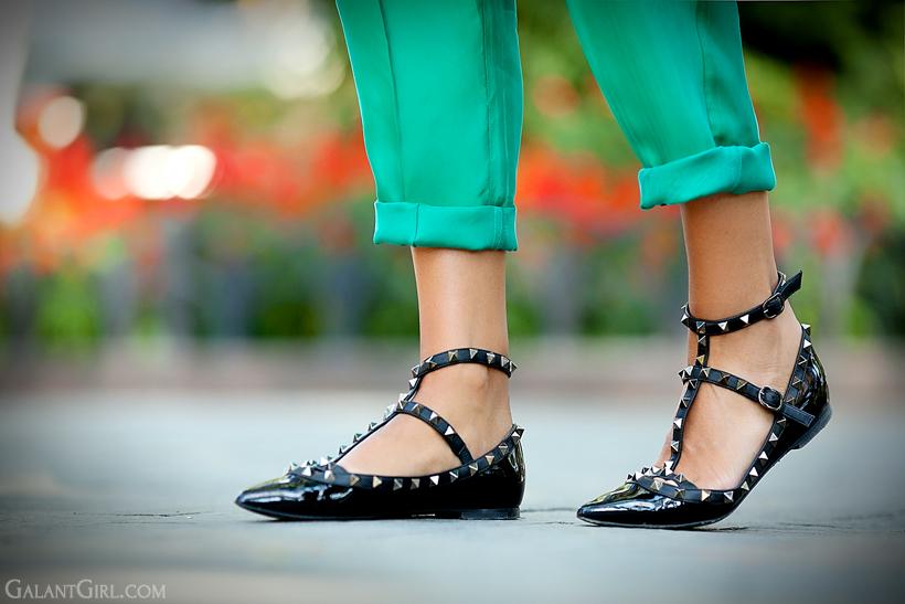 Valentino Rockstud Patent Ballerina Flats
