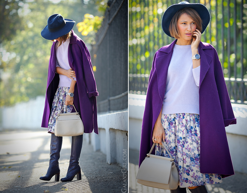Coccinelle bag and purple MaxMara coat on GalantGirl.com