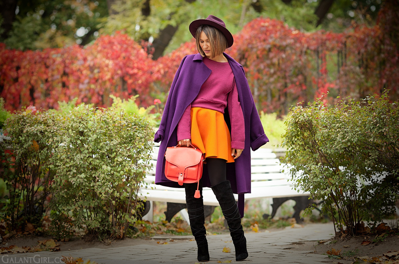 orange skater skirt and Opening Ceremony bag on GalantGirl.com