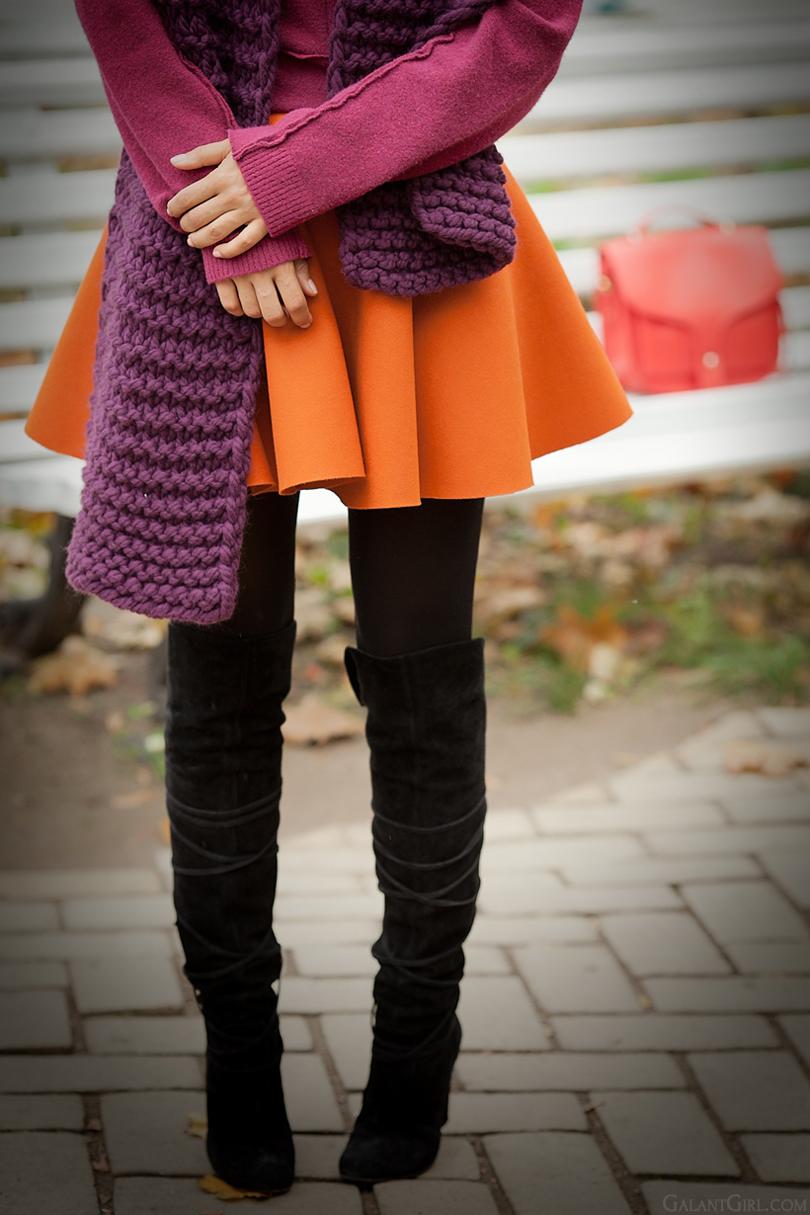 orange wool skater skirt on GalantGirl.com