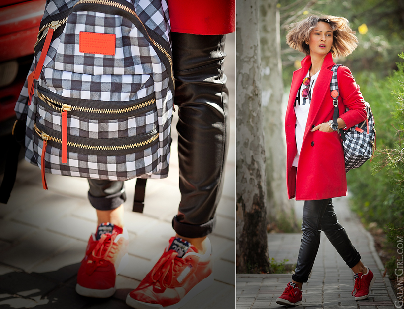 red coat and leather leggings and marc by marc jacobs backpack on GalantGirl.com
