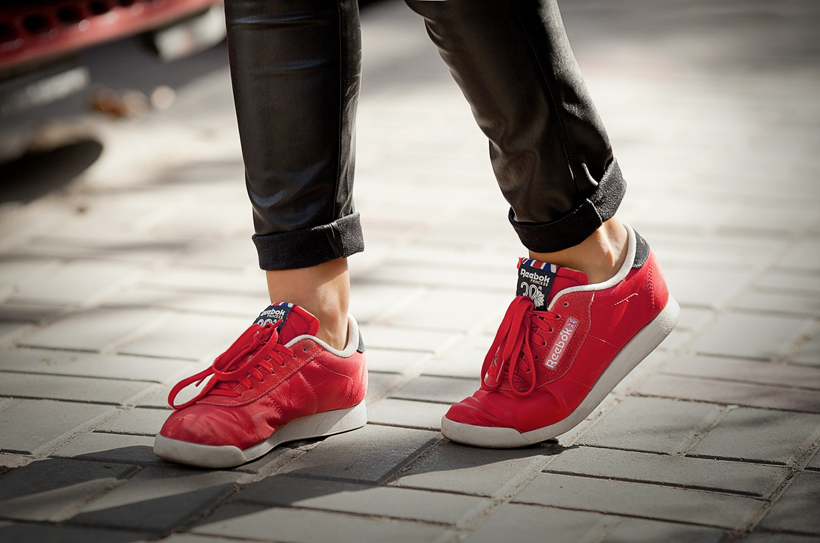 red reebok classic sneakers on GalantGirl.com