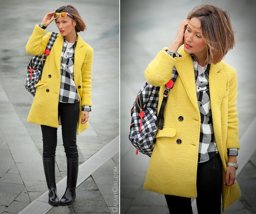 gingham shirt and yellow coat on GalantGirl.com