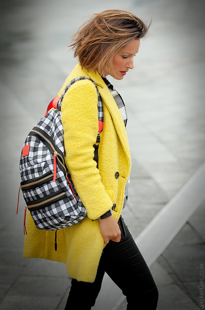 marc by marc jacobs backpack and yellow coat on GalantGirl.com