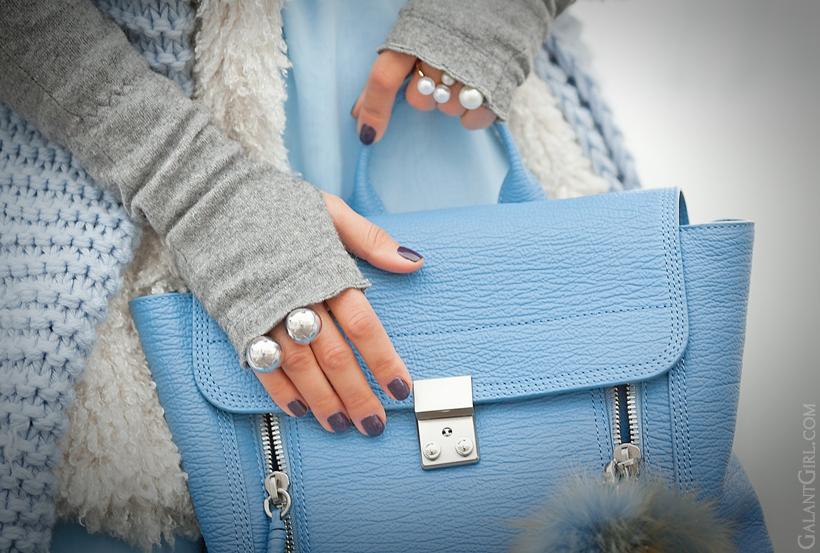 3.1 Phillip Lim Pashli backpack in blue and khoshtrik ring on GalantGirl.com