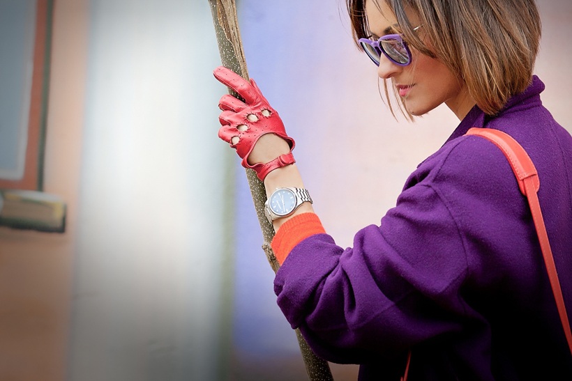 red gloves, galant girl, purple max mara coat, michael kors watch,