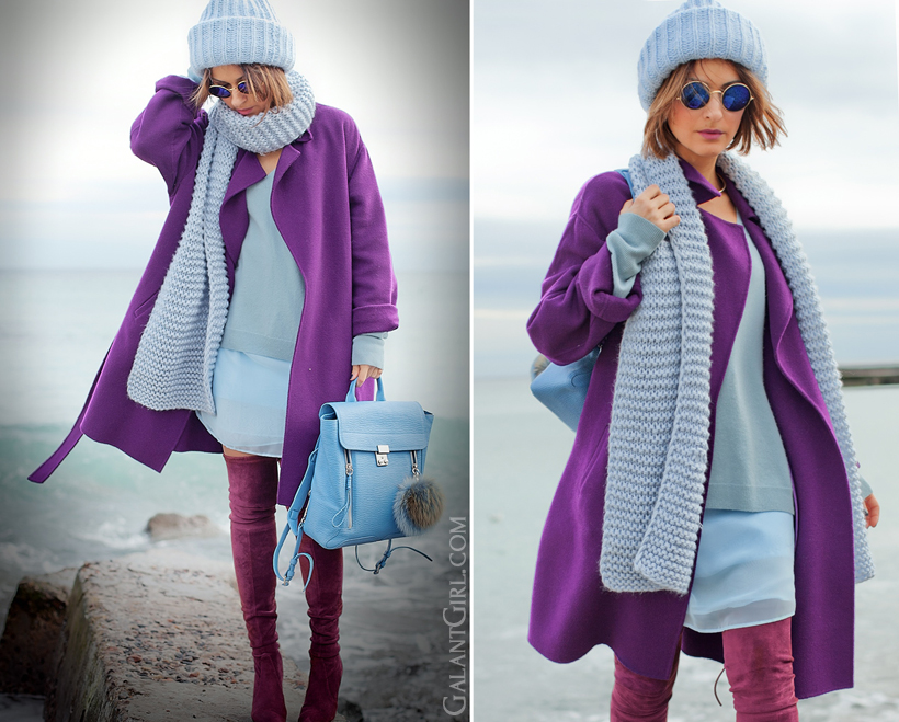 total blue outfit, galant girl, 3.1 Phillip Lim Pashli backpack, max mara wool purple coat