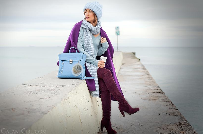 3.1 phillip lim blue pashli backpack, galant girl, purple max mara coat