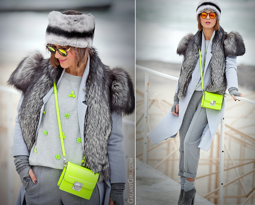 marc by marc jacobs bag, marc by marc jacobs neon cross-body bag, galant girl, fur vest outfit, warm outfit for winter 2014,