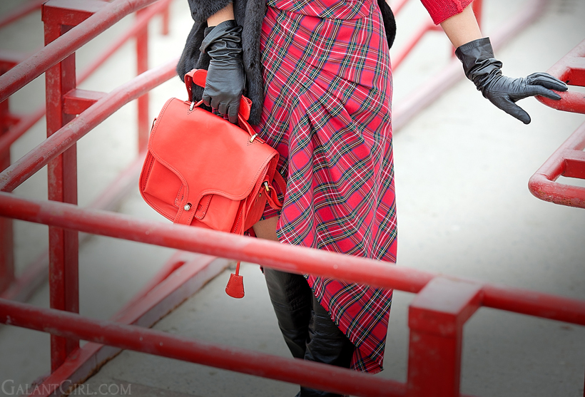 tartan skirt, christmas mood outfit, galant girl, opening ceremony bag,