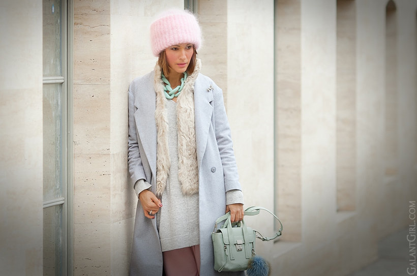 pastel winter outfit, galant girl, grey coat, 3.1 phillip lim pashli,